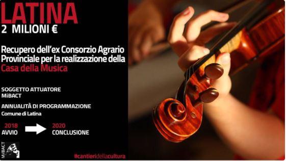 La Casa della Musica di Latina ottiene il finanziamento MiBACT