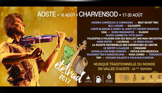 Etétrad, XX edizione ad Aosta della rassegna di musica tradizionale dal mondo